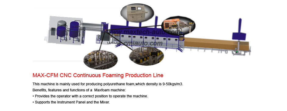 Continuous foaming production line